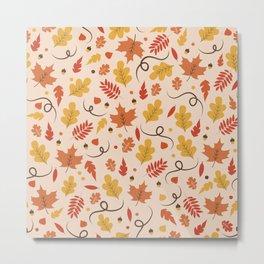 Fall Leaves Pattern Metal Print
