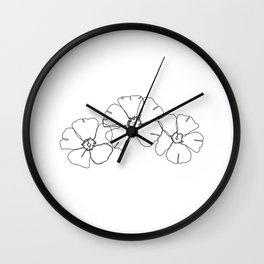 Floral one line drawing - Rita Wall Clock