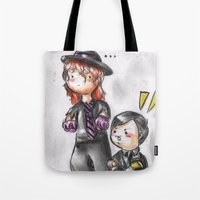 wwe Tote Bags featuring WWE Chibi - Undertaker and Paul Bearer by Furiarossa