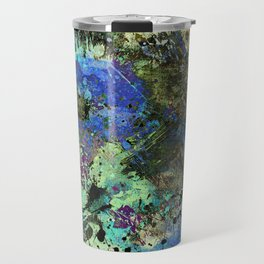 Deep In Thought - Black, blue, purple, white, abstract, acrylic paint splatter artwork Travel Mug