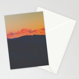 Light Orange Sunset Sky Mountains Landscape Silhouette Stationery Cards