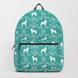 Brussels Griffon floral silhouettes dog breed turquoise gifts Backpack
