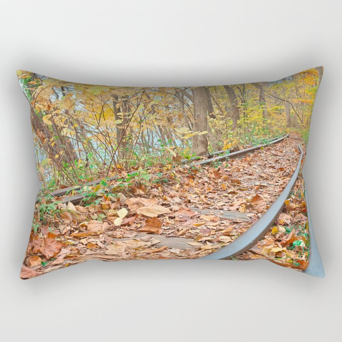 Abandoned Autumn Railroad Rectangular Pillow