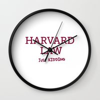 law Wall Clocks featuring Harvard Law by Trend