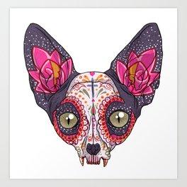 Día de los Muertos - Sugar Skull Cat Art Print
