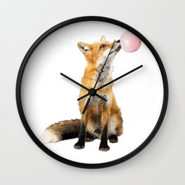 Fox Blowing Bubble Gum - Digital Image Wall Clock