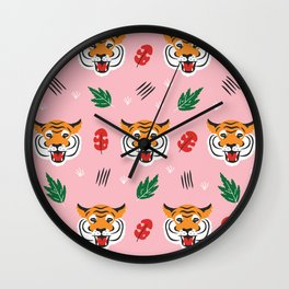 Kitschy Tigers on Pink Wall Clock