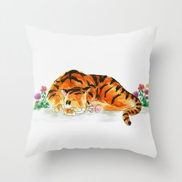 Sleeping tiger watercolor Throw Pillow