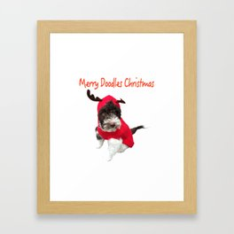 Merry Doodles Christmas Labradoodle Framed Art Print