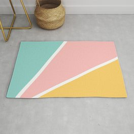 Tropical summer pastel pink turquoise yellow color block geometric pattern Rug
