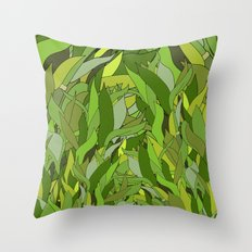 Green Bamboo Leaves Throw Pillow