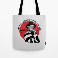 freddy krueger Tote Bags featuring Freddy K quote by Buby87