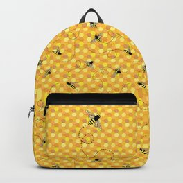 Bees on Honeycomb Pattern Backpack