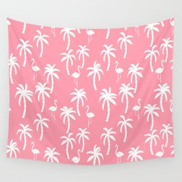 Tropical flamingo and palm trees pattern by andrea lauren cute illustration summer patterns pink Wall Tapestry