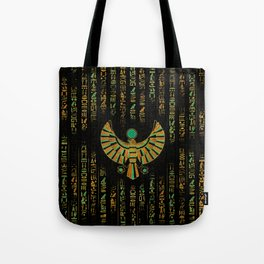 Egyptian Horus Falcon gold and color crystal Tote Bag