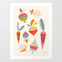 Art Print featuring Happy Turnips by Jolijou