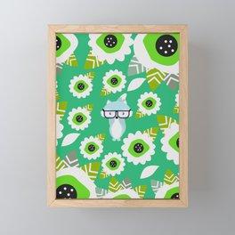 Little fox and strange flowers in green Framed Mini Art Print