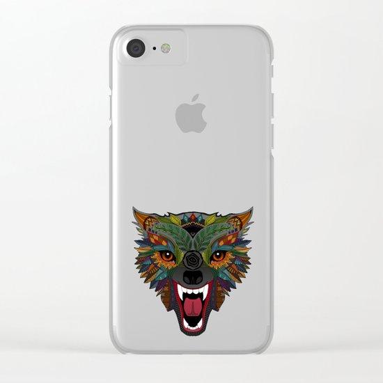 wolf fight flight ochre Clear iPhone Case