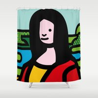 mona lisa Shower Curtains featuring Mona Lisa by Hello Animal