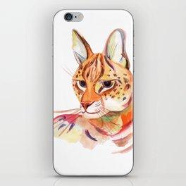 Serval wild cat watercolor iPhone Skin