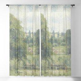 "Camille Pissarro ""Le grand noyer dans le pré, Éragny"" (""The big walnut in the meadow, Éragny"") Sheer Curtain"