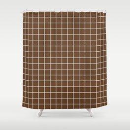 Van Dyke brown - brown color - White Lines Grid Pattern Shower Curtain