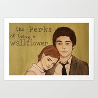 the perks of being a wallflower Art Prints featuring The Perks of Being a Wallflower by Gillian Head