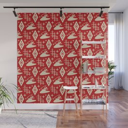 Mid Century Modern Boomerang Abstract Pattern Red and Tan 261 Wall Mural