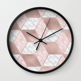 Dazzling marble geo - rose gold Wall Clock