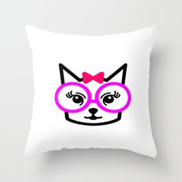Cute Cat Girl Wearing Glasses Throw Pillow