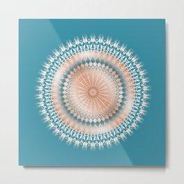 Rose Gold Turquoise Mandala Metal Print