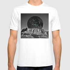 rising moon White MEDIUM Mens Fitted Tee