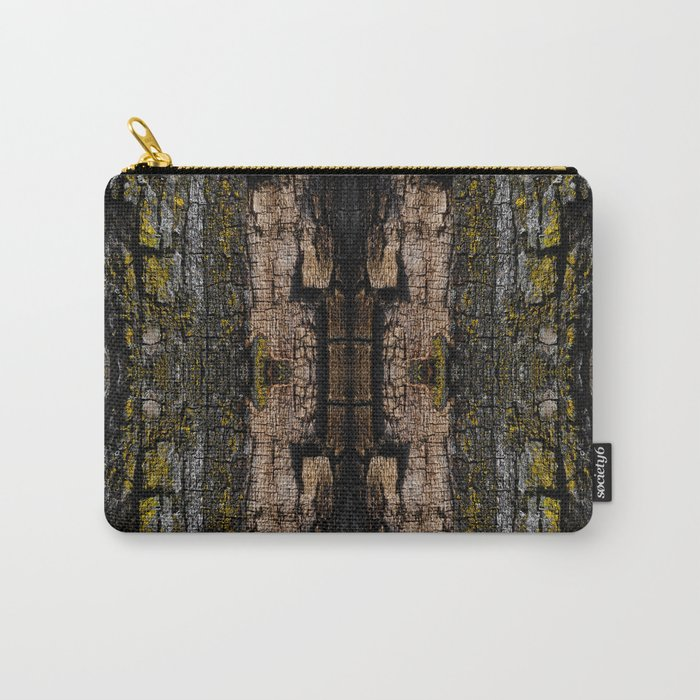Cool Brown mossy wood bark yellow lichen pattern Carry-All Pouch