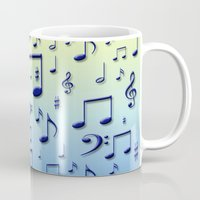 music notes Mugs featuring Music notes by Gaspar Avila