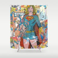 supergirl Shower Curtains featuring Vintage Comic Supergirl by Dave Seedhouse.com