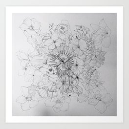 fish and flowers Art Print