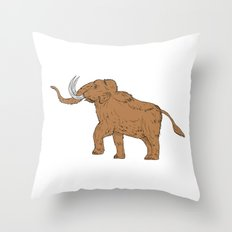 Woolly Mammoth Prancing Drawing Throw Pillow