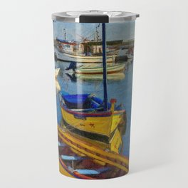 Yellow fishing boat, Santa Luzia, Portugal Travel Mug