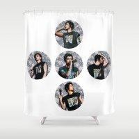 zayn malik Shower Curtains featuring Zayn Malik + Flowers by Ladsandstuff
