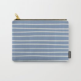 Dover White 33-6 Hand Drawn Horizontal Lines on Dusk Sky Blue 27-23 Carry-All Pouch