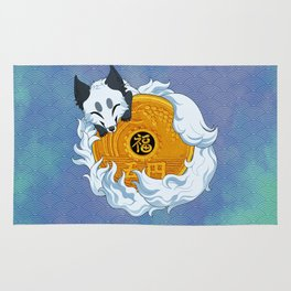 Lucky fox coin (white/blue) Rug