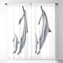 Long-beaked dolphin and baby Blackout Curtain