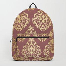 Burgundy rose gold elegant damasque Backpack