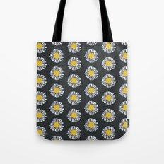 Daisy pattern basic flowers floral blossom botanical print charlotte winter dark color Tote Bag