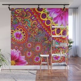 BOHEMIAN  FUCHSIA FLORALS  IN RED-YELLOW COLOR ART Wall Mural