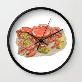 Cajun Seafood Watercolor Wall Clock