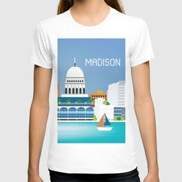 Madison, Wisconsin - Skyline Illustration by Loose Petals T-shirt