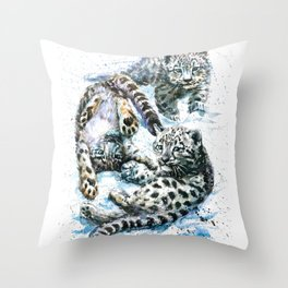 Little snow leopards Throw Pillow