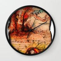 fairy tale Wall Clocks featuring fairy tale by Elvira Marinevich