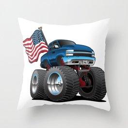 Monster Pickup Truck with USA Flag Cartoon Throw Pillow